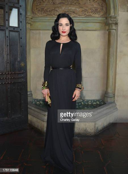 Dita Von Teese attends the celebration for the Rachel Pally Fall 2013 Collection at Chateau Marmont on July 31 2013 in Los Angeles California