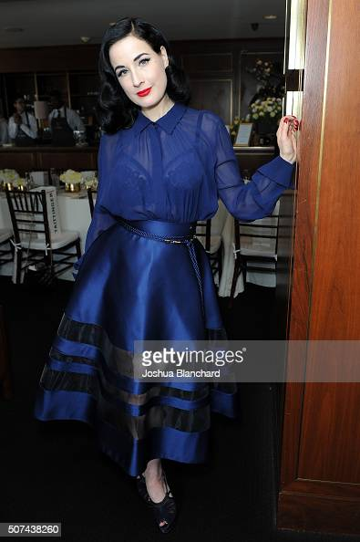 Dita Von Teese attends the Champagne Taittinger ANGELENO Celebrate Entrepreneurial Women In Hollywood at Sunset Tower Hotel on January 29 2016 in...