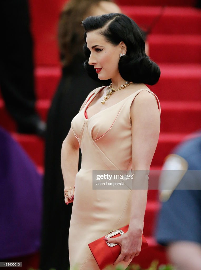 Dita Von Teese; attends the 'Charles James: Beyond Fashion' Costume Institute Gala at the Metropolitan Museum of Art on May 5, 2014 in New York City.