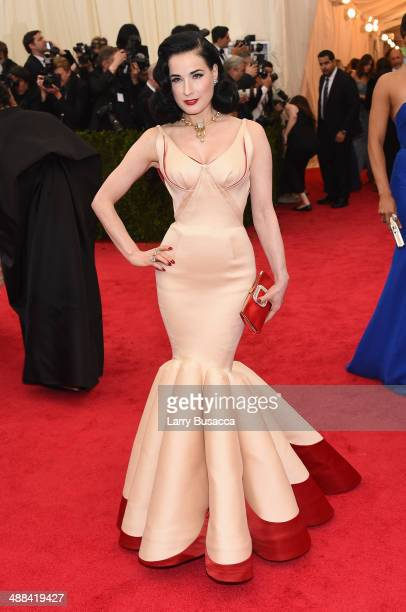 Dita Von Teese attends the 'Charles James Beyond Fashion' Costume Institute Gala at the Metropolitan Museum of Art on May 5 2014 in New York City
