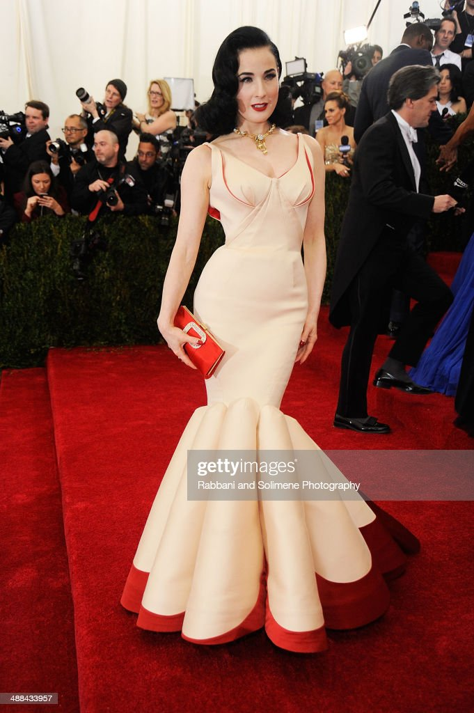Dita Von Teese attends the 'Charles James: Beyond Fashion' Costume Institute Gala at the Metropolitan Museum of Art on May 5, 2014 in New York City.