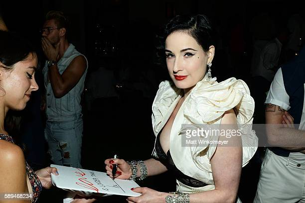 Dita Von Teese attends the Chaz Dean Denim Diamond Gold Summer party benefiting Love Is Louder on August 13 2016 in Los Angeles California