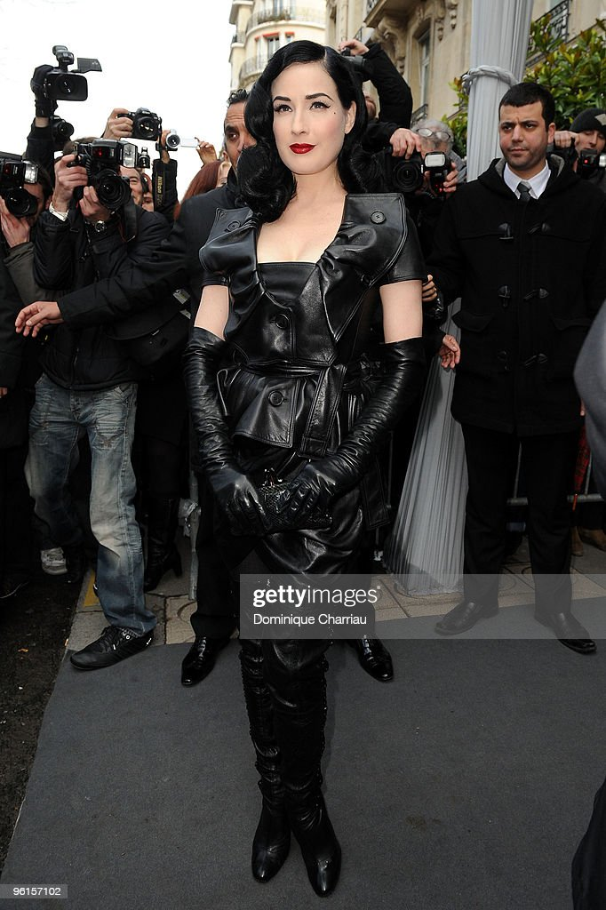 Dita Von Teese attends the Christian Dior Haute-Couture show as part of the Paris Fashion Week Spring/Summer 2010 on January 25, 2010 in Paris, France.