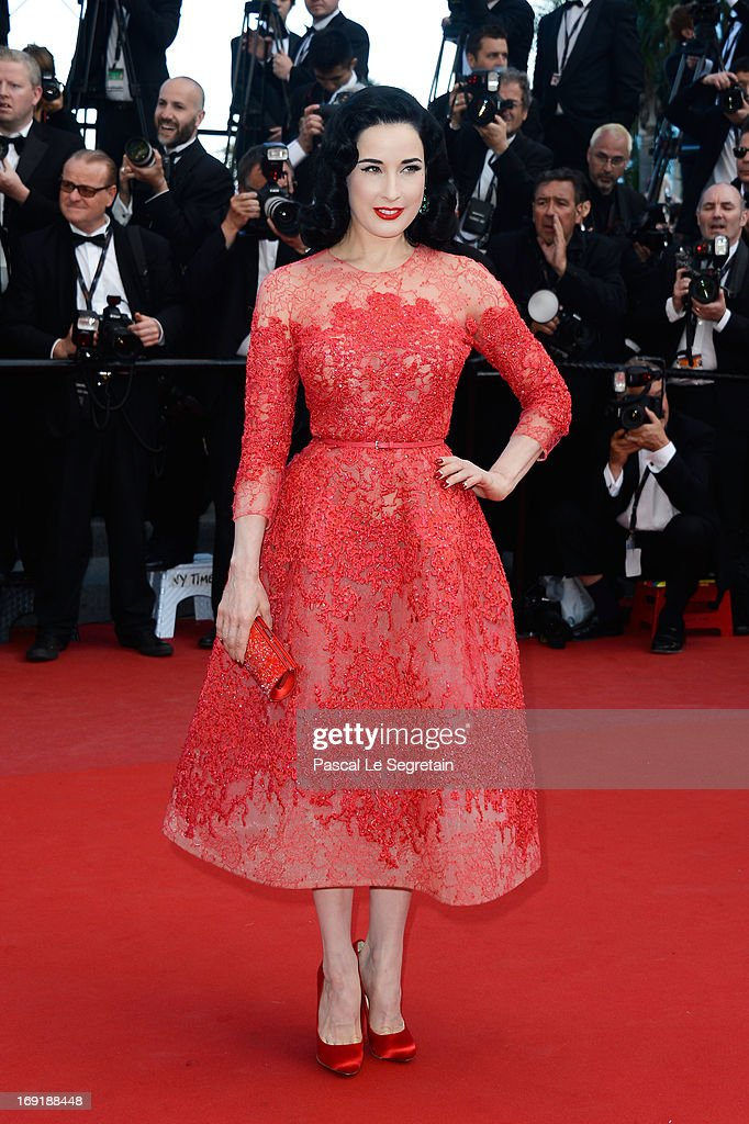 <a gi-track='captionPersonalityLinkClicked' href=/galleries/search?phrase=Dita+Von+Teese&family=editorial&specificpeople=210578 ng-click='$event.stopPropagation()'>Dita Von Teese</a> attends the 'Cleopatra' premiere during The 66th Annual Cannes Film Festival at The 60th Anniversary Theatre on May 21, 2013 in Cannes, France.