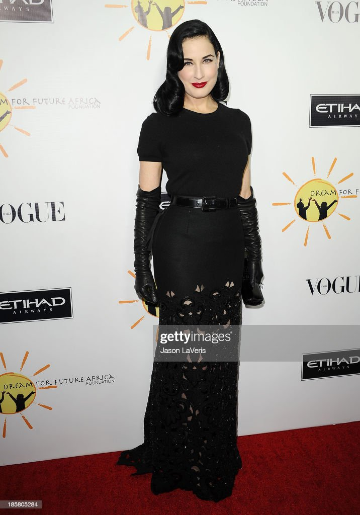 <a gi-track='captionPersonalityLinkClicked' href=/galleries/search?phrase=Dita+Von+Teese&family=editorial&specificpeople=210578 ng-click='$event.stopPropagation()'>Dita Von Teese</a> attends the Dream For Future Africa Foundation gala at Spago on October 24, 2013 in Beverly Hills, California.