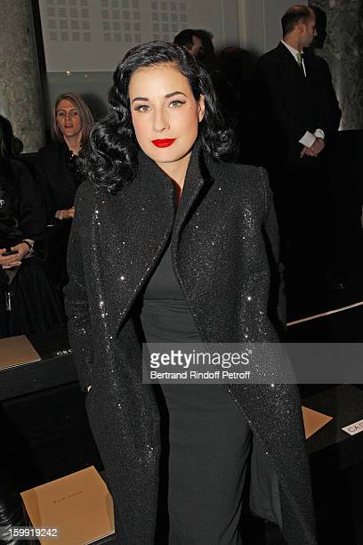 Dita Von Teese attends the Elie Saab Spring/Summer 2013 HauteCouture show as part of Paris Fashion Week at Pavillon Cambon Capucines on January 23...