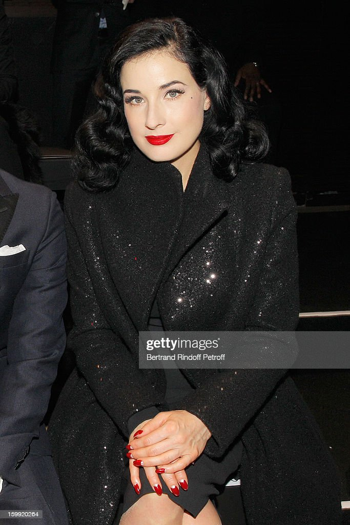 <a gi-track='captionPersonalityLinkClicked' href=/galleries/search?phrase=Dita+Von+Teese&family=editorial&specificpeople=210578 ng-click='$event.stopPropagation()'>Dita Von Teese</a> attends the Elie Saab Spring/Summer 2013 Haute-Couture show as part of Paris Fashion Week at Pavillon Cambon Capucines on January 23, 2013 in Paris, France.
