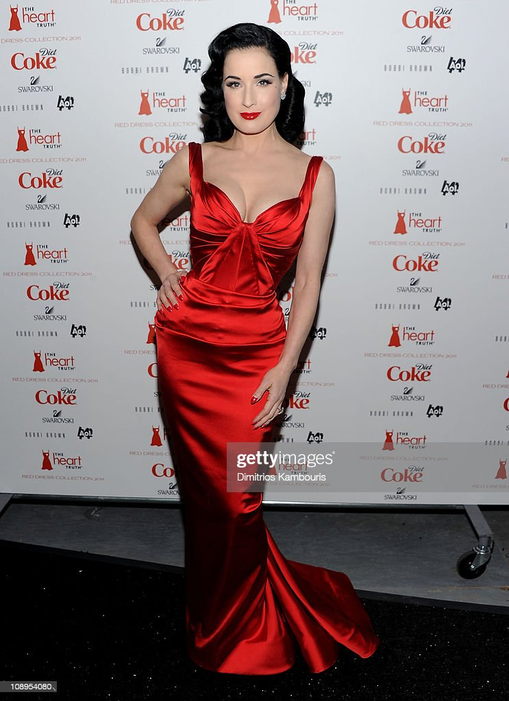 <a gi-track='captionPersonalityLinkClicked' href=/galleries/search?phrase=Dita+Von+Teese&family=editorial&specificpeople=210578 ng-click='$event.stopPropagation()'>Dita Von Teese</a> attends the Heart Truth's Red Dress Collection 2011 during Mecerdes-Benz fashion week at The Theatre at Lincoln Center on February 9, 2011 in New York City.