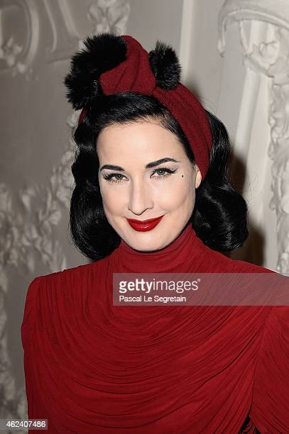 Dita Von Teese attends the Jean Paul Gaultier show as part of Paris Fashion Week Haute Couture Spring/Summer 2015 on January 28 2015 in Paris France