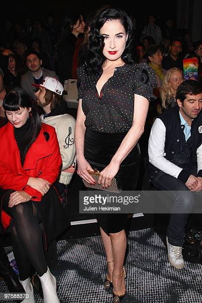 Dita Von Teese attends the JeanCharles de Castelbajac Ready to Wear show as part of the Paris Womenswear Fashion Week Fall/Winter 2011 at Le...