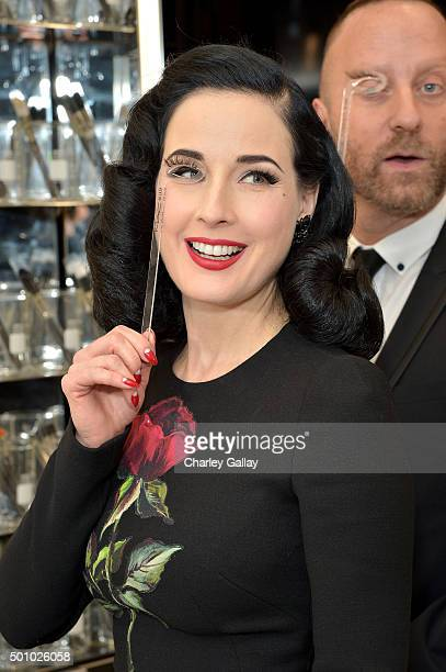 Dita Von Teese attends the MAC Comestics Dita Von Teese Collection Launch Event on December 11 2015 at MAC North Beverly in Beverly Hills California