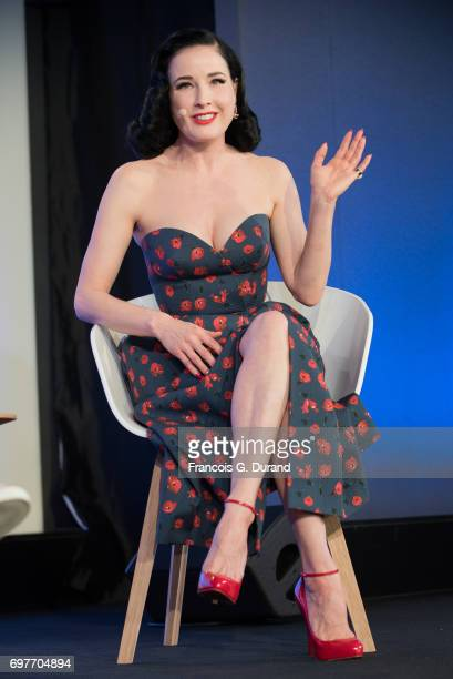 Dita Von Teese attends the 'Melody Harmony and Metadata Understanding People Through Music' Talk hosted by Spotify during the Cannes Lions Festival...
