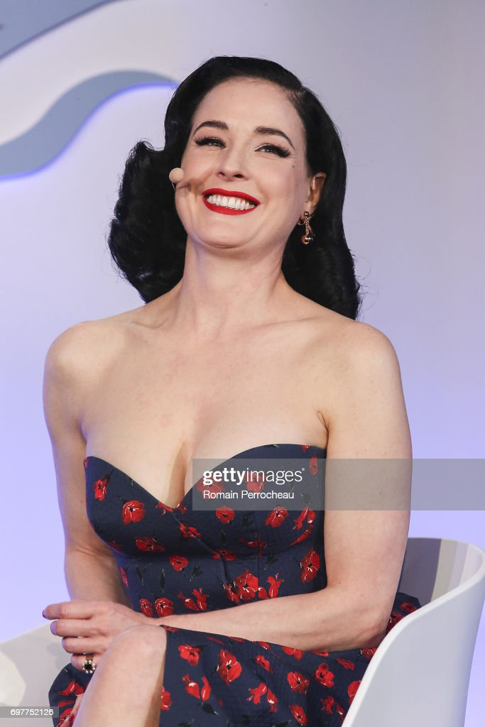 Dita Von Teese attends the 'Melody, Harmony and Metadata; Understanding People Through Music' talk, hosted by Spotify during the Cannes Lions Festival 2017 on June 19, 2017 in Cannes, France.