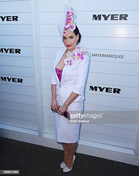 Dita Von Teese attends the Myer marquee during Melbourne Cup Day at Flemington Racecourse on November 5 2013 in Melbourne Australia