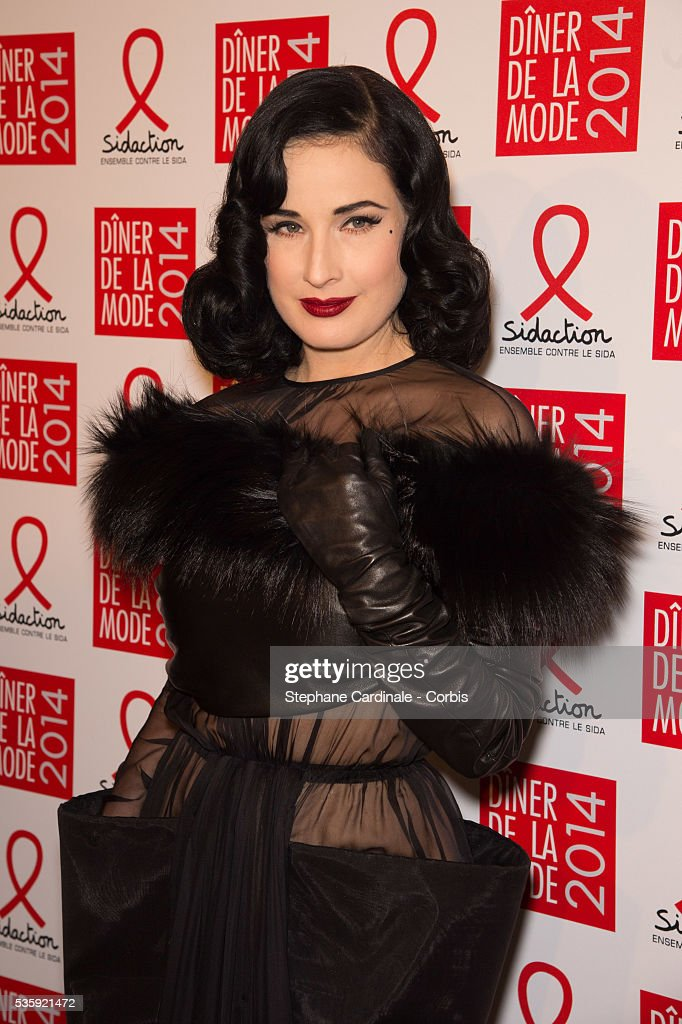 Dita Von Teese attends the Sidaction Gala Dinner at Pavillon d'Armenonville, in Paris.
