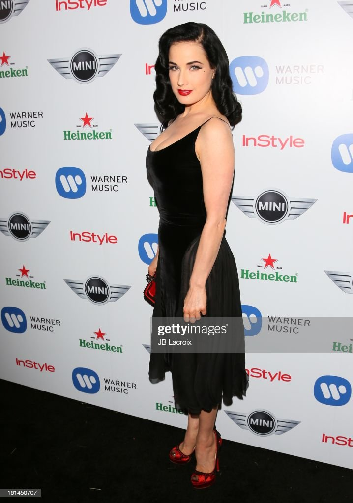 <a gi-track='captionPersonalityLinkClicked' href=/galleries/search?phrase=Dita+Von+Teese&family=editorial&specificpeople=210578 ng-click='$event.stopPropagation()'>Dita Von Teese</a> attends the Warner Music Group 2013 Grammy Celebration Presented By Mini at Chateau Marmont on February 10, 2013 in Los Angeles, California.