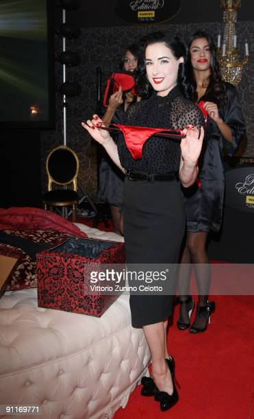 Dita Von Teese attends the Wonderbra by Dita Von Teese Party Edition launch at the La Rinascente Piazza Duomo as part of Milan Womenswear Fashion...