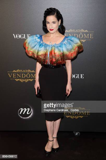 Dita Von Teese attends Vogue Party as part of the Paris Fashion Week Womenswear Spring/Summer 2018 at on October 1 2017 in Paris France