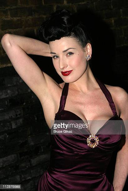Dita Von Teese during Dita Von Teese Visits Backstage at 'Gypsy' on Broadway April 28 2004 at The Shubert Theater in New York City New York United...