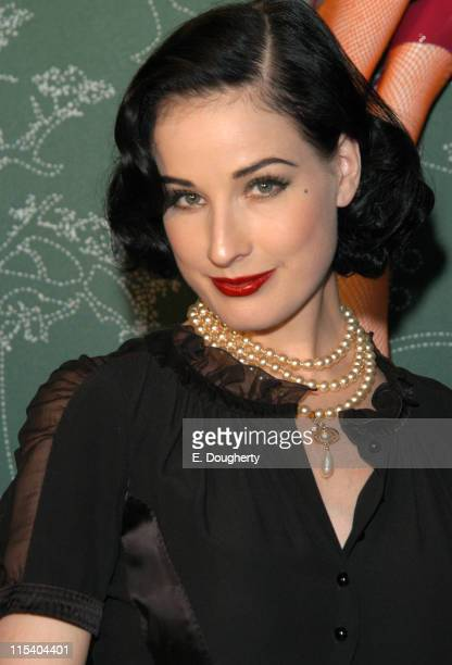 Dita Von Teese during Motorola's 'Head Body' Launch with DJs Paul and Bob of Franz Ferdinand at Y Apartment in New York New York United States