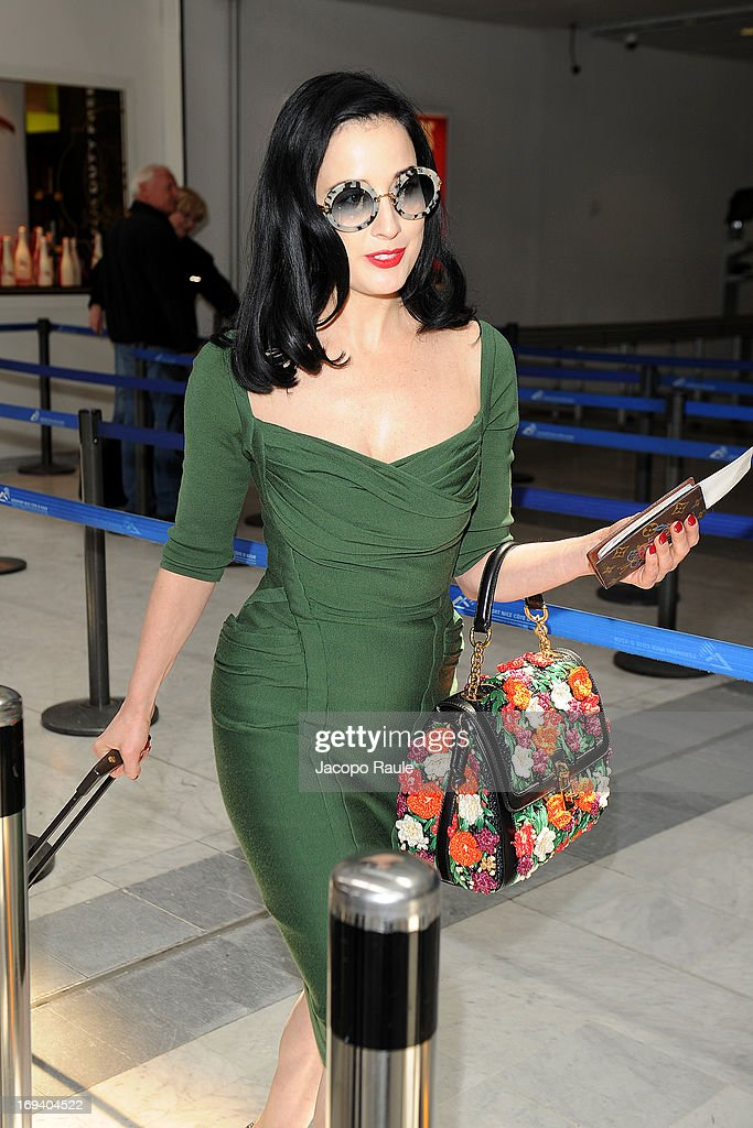 Dita Von Teese is seen arriving at Nice airport dueing The 66th Annual Cannes Film Festival on May 24, 2013 in Nice, France.