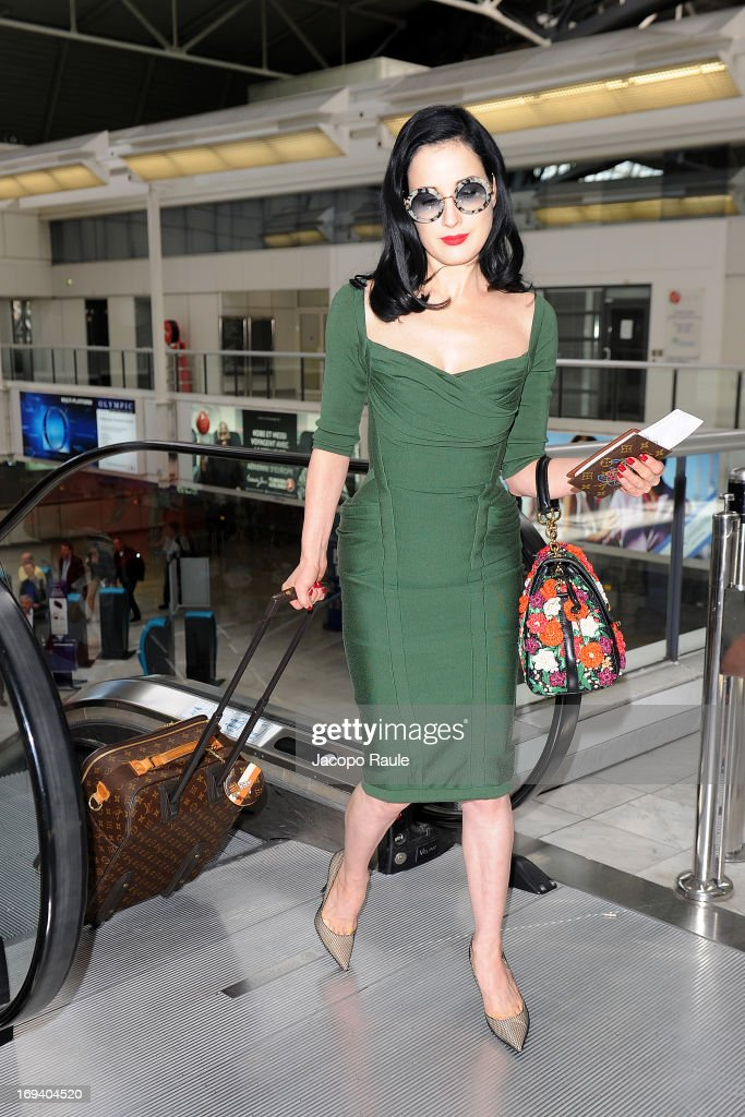 Dita Von Teese is seen arriving at Nice airport during The 66th Annual Cannes Film Festival on May 24, 2013 in Nice, France.