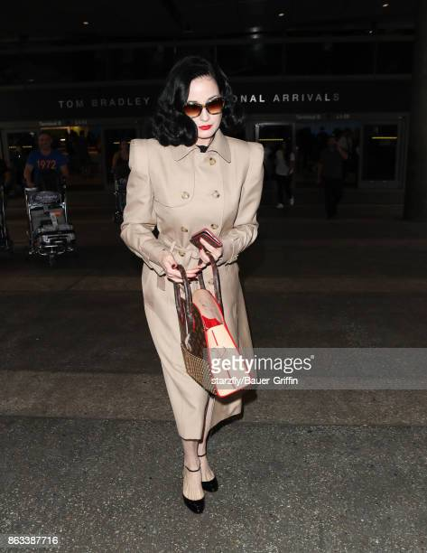 Dita Von Teese is seen at LAX on October 19 2017 in Los Angeles California