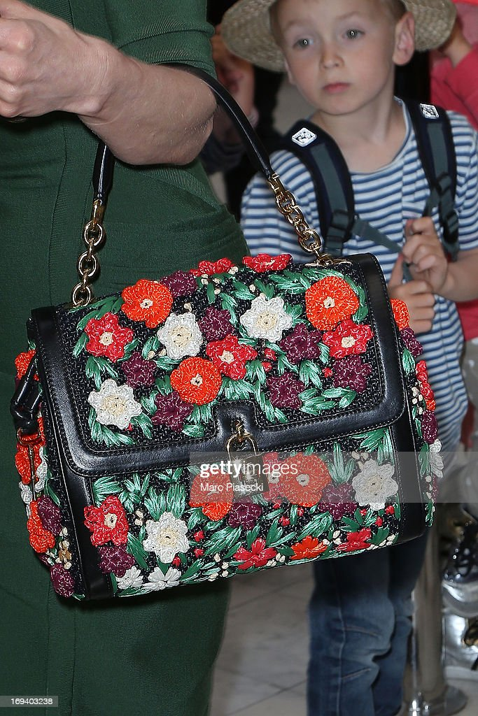 Dita Von Teese (handbag detail) is seen at Nice airport during the 66th Annual Cannes Film Festival on May 24, 2013 in Nice, France.