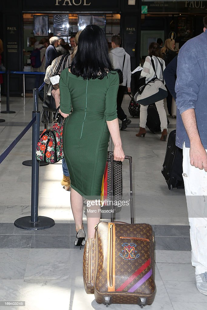 Dita Von Teese is seen at Nice airport during the 66th Annual Cannes Film Festival on May 24, 2013 in Nice, France.