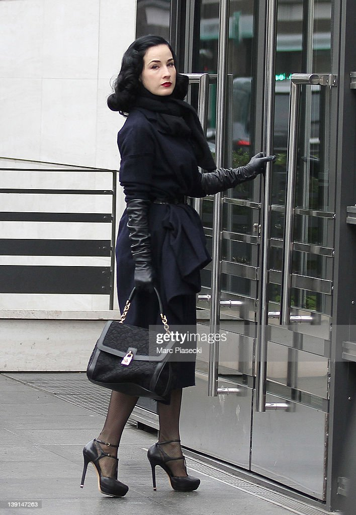 Dita von Teese is sighted arriving at Firmenich France on February 17, 2012 in Paris, France.