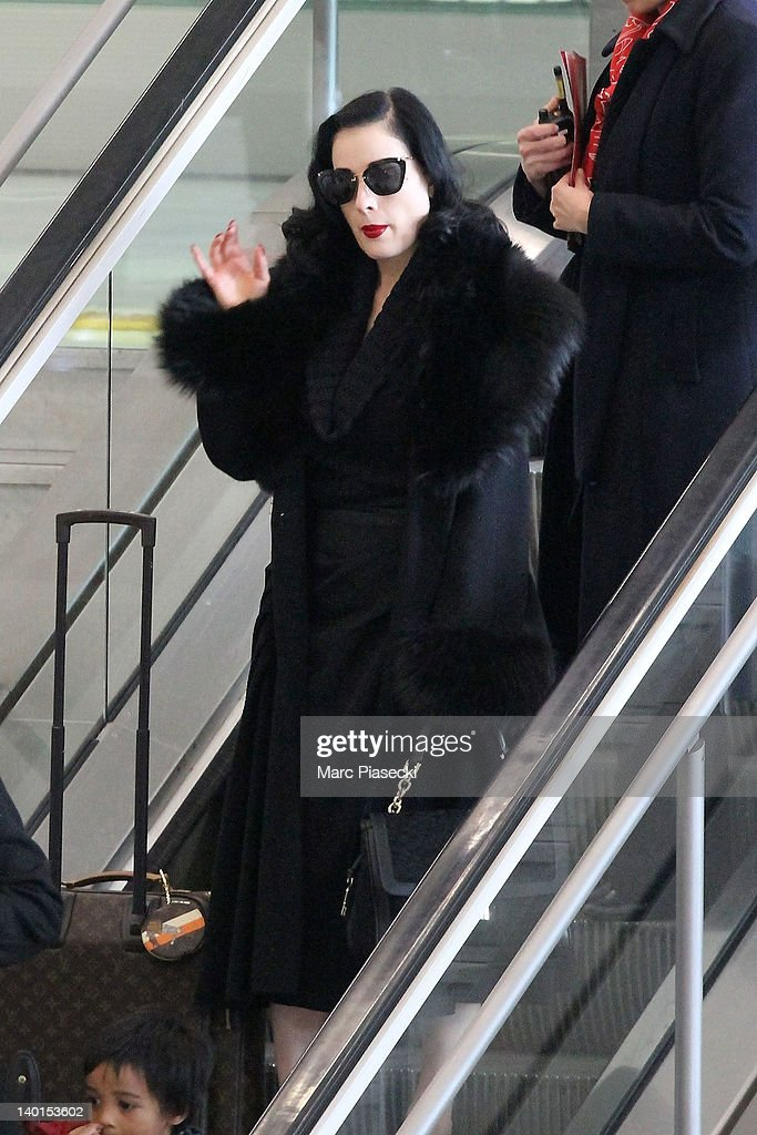 Dita von Teese is sighted at Aeroport Roissy - Charles de Gaulle on February 29, 2012 in Paris, France.