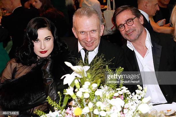 Dita Von Teese JeanPaul Gaultier and Owner of Gaultier Manuel Puig attend the Sidaction Gala Dinner 2014 at Pavillon d'Armenonville on January 23...
