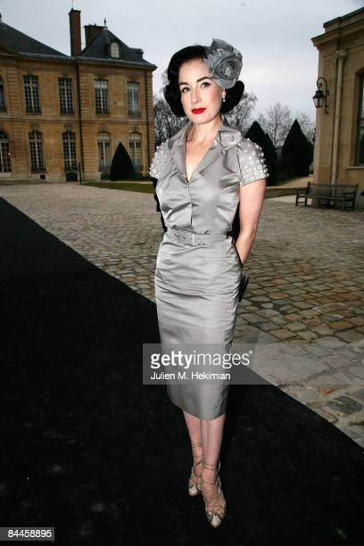 Dita Von Teese leaves the Christian Dior fashion show during Paris Fashion Week Haute Couture Spring/Summer 2009 on January 26 2009 in Paris France