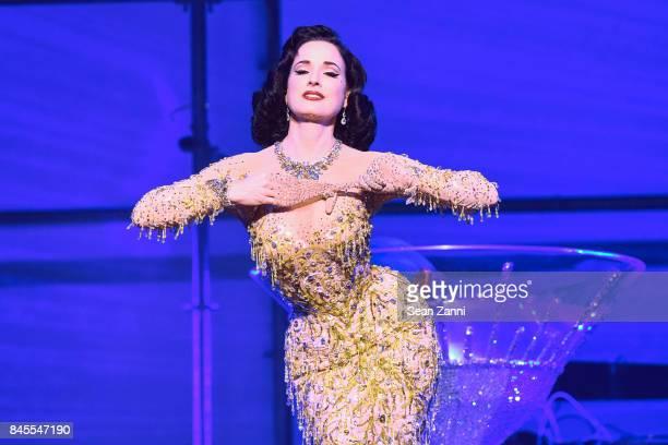 Dita Von Teese performs at the Philipp Plein fashion show during New York fashion week at Hammerstein Ballroom on September 9 2017 in New York City