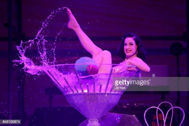 Dita Von Teese performs at the runway at the Philipp Plein fashion show during New York Fashion Week The Shows at Hammerstein Ballroom on September 9...