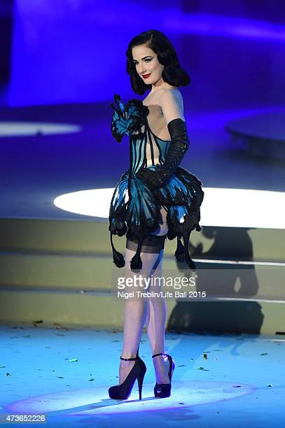 Dita von Teese performs during the Life Ball 2015 show at City Hall on May 16 2015 in Vienna Austria