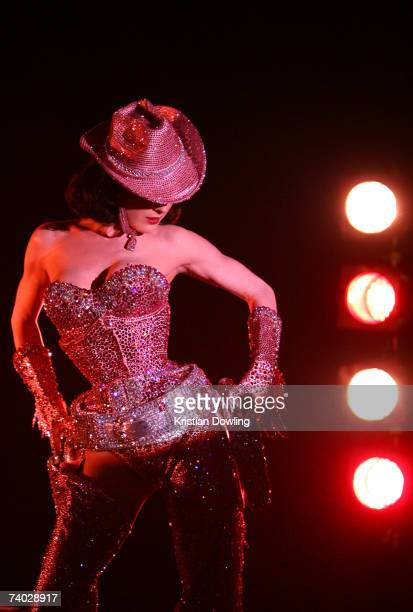 Dita Von Teese performs her 'Lipteese' routine as part of the Rosemount Australian Fashion Festival at the Museum of Contemporary Art on April 30...