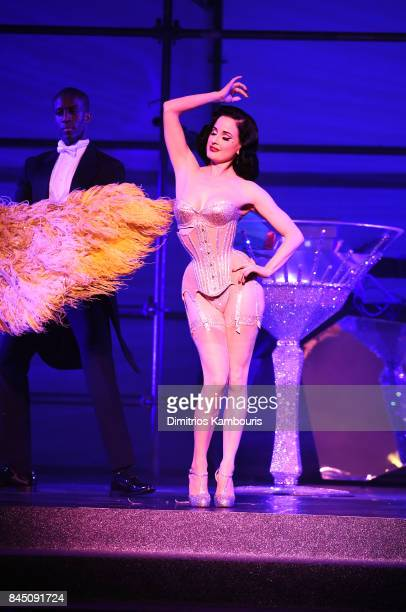 Dita Von Teese performs on stage at the Philipp Plein fashion show during New York Fashion Week The Shows at Hammerstein Ballroom on September 9 2017...