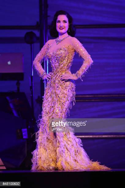 Dita Von Teese performs on the runway at the Philipp Plein fashion show during New York Fashion Week The Shows at Hammerstein Ballroom on September 9...