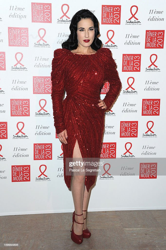 <a gi-track='captionPersonalityLinkClicked' href=/galleries/search?phrase=Dita+von+Teese&family=editorial&specificpeople=210578 ng-click='$event.stopPropagation()'>Dita von Teese</a> poses as she arrives to attend the Sidaction Gala Dinner 2013 at Pavillon d'Armenonville on January 24, 2013 in Paris, France.