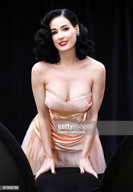 Dita Von Teese poses as she launches the new Wonderbra by Dita Von Teese collection on September 23 2008 in London England