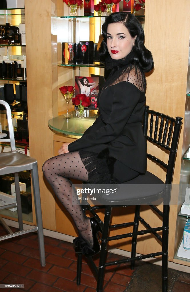 Dita Von Teese promotes her new perfume at Ron Robinson Fred Segal on December 15, 2012 in West Hollywood, California.