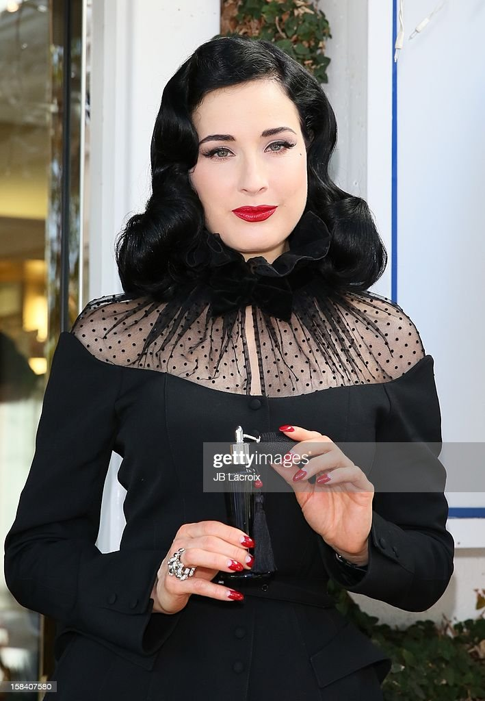 <a gi-track='captionPersonalityLinkClicked' href=/galleries/search?phrase=Dita+Von+Teese&family=editorial&specificpeople=210578 ng-click='$event.stopPropagation()'>Dita Von Teese</a> promotes her new perfume at Ron Robinson Fred Segal on December 15, 2012 in West Hollywood, California.