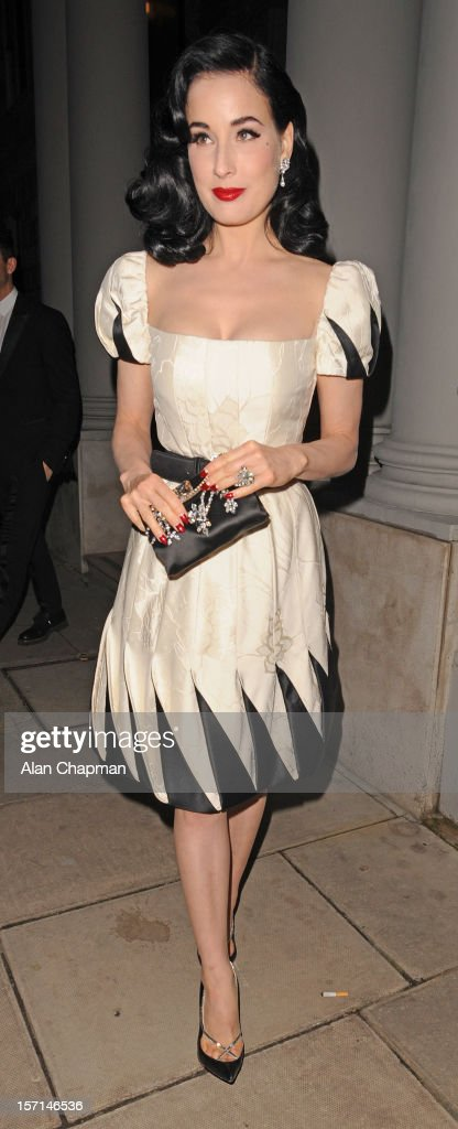 Dita Von Teese sighting at the Italian Embassy on November 28, 2012 in London, England.