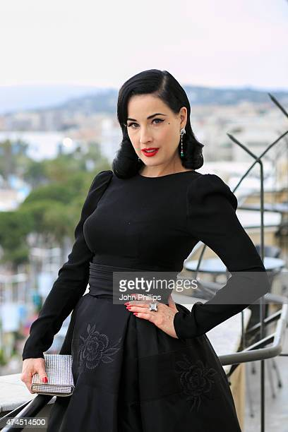 Dita Von Teese visits the Avakian suite during the 68th Cannes Film Festival at Carlton Hotel on May 23 2015 in Cannes France