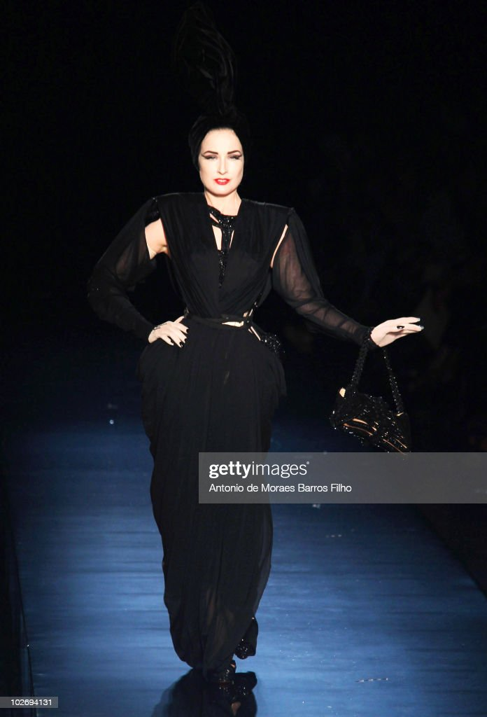 Dita Von Teese walks the runway at the Jean-Paul Gaultier show as part of the Paris Haute Couture Fashion Week Fall/Winter 2011 on July 7, 2010 in Paris, France.