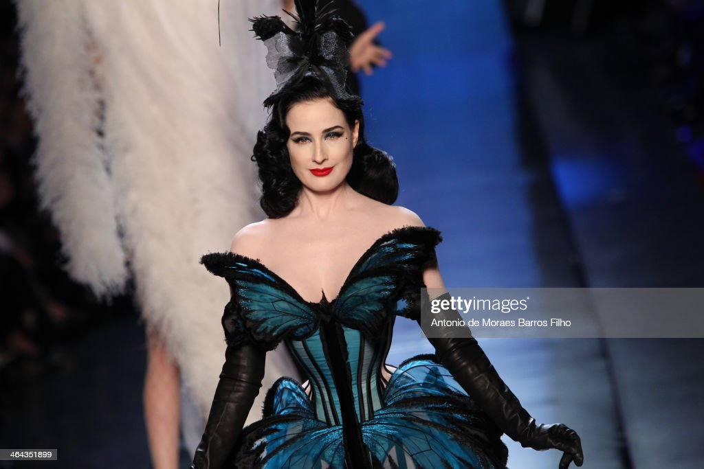 <a gi-track='captionPersonalityLinkClicked' href=/galleries/search?phrase=Dita+Von+Teese&family=editorial&specificpeople=210578 ng-click='$event.stopPropagation()'>Dita Von Teese</a> walks the runway during Jean Paul Gaultier show as part of Paris Fashion Week Haute Couture Spring/Summer 2014 on January 22, 2014 in Paris, France.