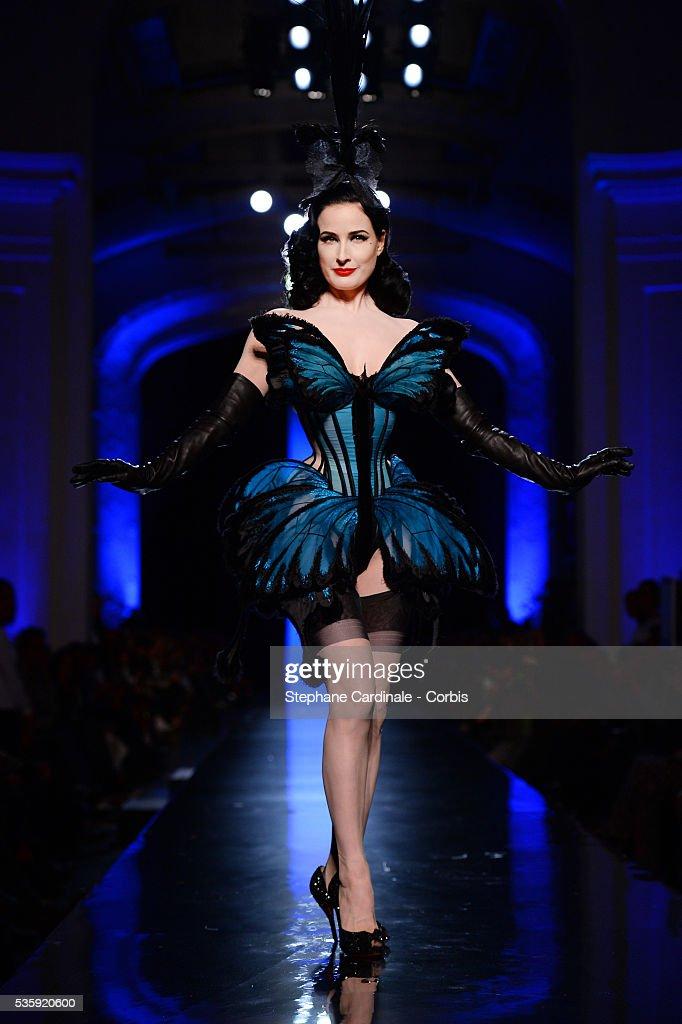 Dita Von Teese walks the runway during Jean Paul Gaultier show as part of Paris Fashion Week Haute Couture Spring/Summer 2014, in Paris.