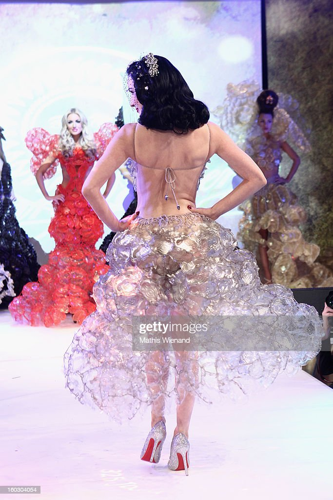 Dita von Teese wearing creations out of Cake packagins by artist Larisa Katz Art couture walks the catwalk during the Lambertz Monday Night at Alter Wartesaal on January 28, 2013 in Cologne, Germany.