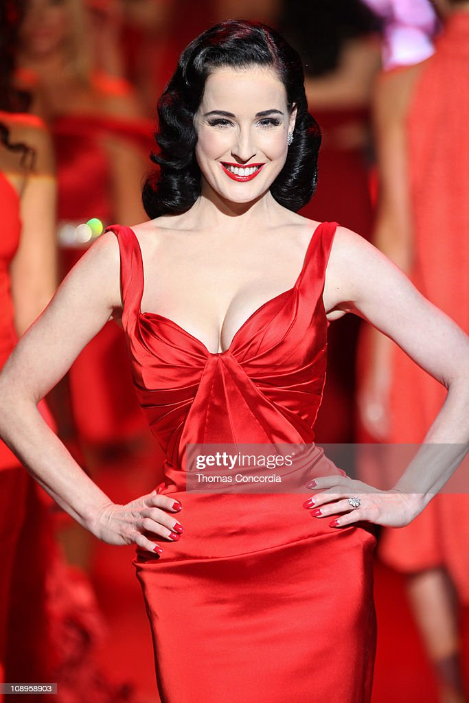 Dita Von Teese wearing Zac Posen at the The Heart Truth's Red Dress Collection fashion show during Mercedes-Benz Fashion Week Fall 2011 at Lincoln Center on February 9, 2011 in New York City.